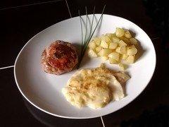 Crépinettes de porc et gratin d'oignons